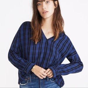 MADEWELL Highroad Popover Chelton Plaid Blouse XS